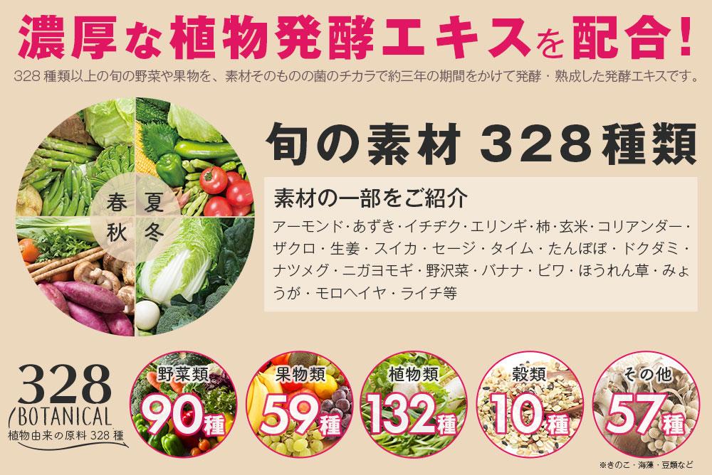 酵素活性のある酵素エキスを配合!328種類以上の旬の野菜や果物を、素材そのものの菌の力で約三年の期間をかけて発酵・熟成した酵素エキスです。旬の素材328種類 素材の一部をご紹介 アーモンド・あずき・イチヂク・エリンギ・柿・玄米・コリアンダー・ザクロ・生姜・スイカ・セージ・タイム・たんぽぽ・ドクダミ・ナツメグ・ニガヨモギ・野沢菜・バナナ・ビワ・ほうれん草・みょうが・モロヘイヤ・ライチ等